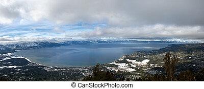 panorama, lago tahoe, inverno