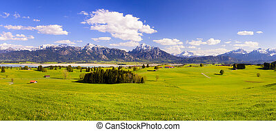 Panorama landscape in Bavaria with scene at alps mountains