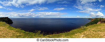 Panorama landscape of Onega lake