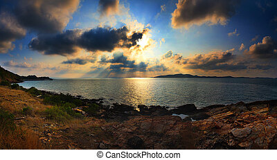panorama landscape scene of Khao Leam Ya sea national park in Rayong eastern of Thailand