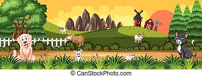 Panorama landscape scene with various farm animals in the farm