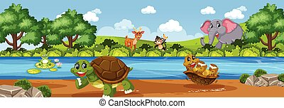 Panorama landscape scene with various wild animals in the farm