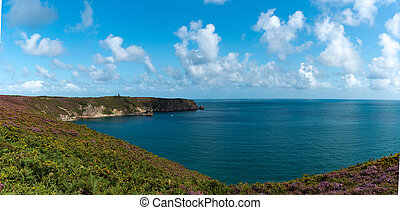 panorama landscape view of the Emerald Coast in northern France