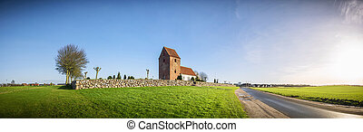 Panorama landscape with a church