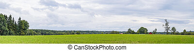 Panorama landscape with a red barn on a green field