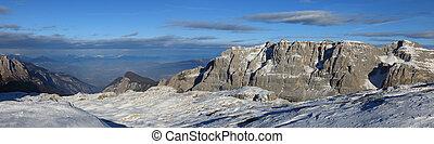 panorama, landskap, av, dolomite, alperna