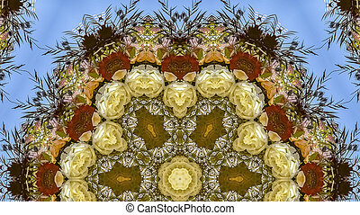Panorama Large hexagonal flowers in circular arrangement at wedding in California on blue background