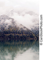 panorama left-to-right Ritsa lake in the spring morning