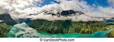 panorama, lovatnet, norway., schöne , natur, see