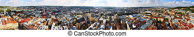 panorama in clear weather, the historic center of Lviv at 360 degrees