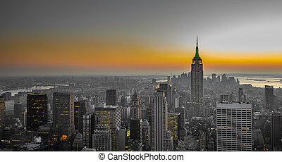 panorama, manhattan, york, nowy