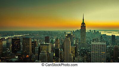 panorama, manhattan, york, nuevo
