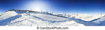 panorama, matterhorn, gornergratbahn, 360 degré