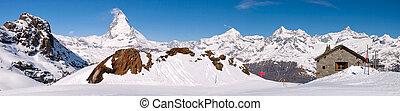 panorama, matterhorn, spitze, landschaftsbild