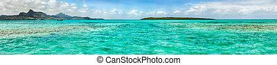 panorama, mauritius., time., mer, jour, vue