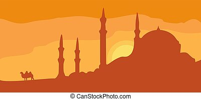Panorama minarets and sunset sky with camel. Vector flat illustration