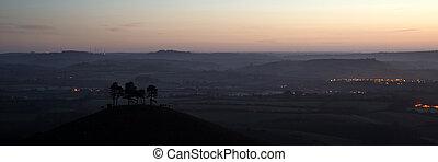 Panorama misty countryside landscape vibrant dawn sunrise