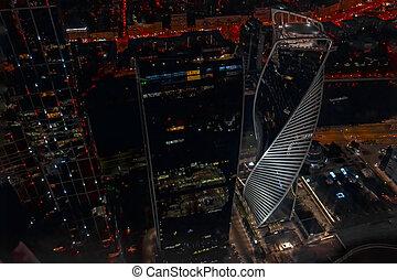 panorama, moderne, gratte-ciel, night., lights., ville