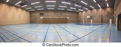 panorama, moderne, salle, sports