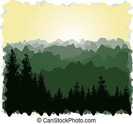 panorama, montañas.