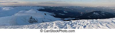 panorama montagna, crepuscolo