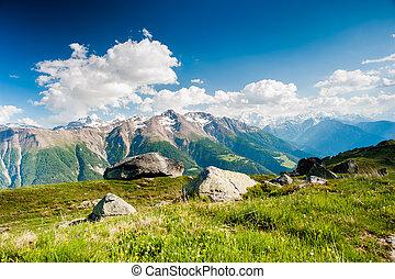 panorama montanha, de, fiescheralp