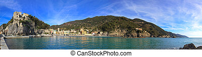 Panorama Monterosso al Mare fisherman village, harbor, rocks...