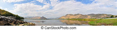 Panorama mountain and blue sky reflected in lake
