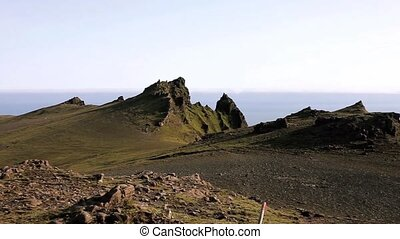 Panorama mountain landscape, Iceland. Beauty and freedom