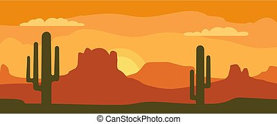 Panorama mountains and sunset sky with cactus. Vector flat illustration
