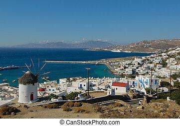 panorama, mykonos, grecia