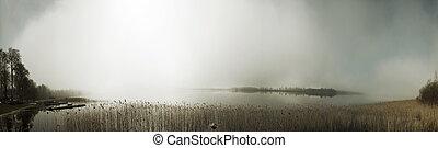 panorama, névoa