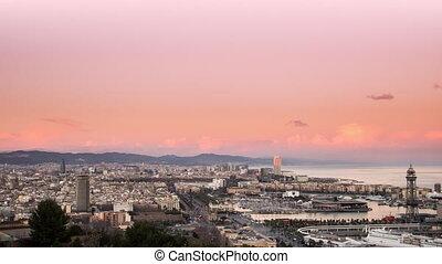 panorama, Nacht, Tag,  Barcelona,  tim