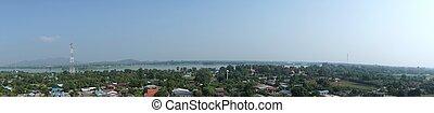 panorama, non-miejski, kwai, rzeka, prospekt