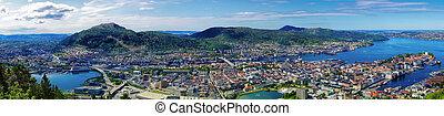 panorama, norvegia, bergen
