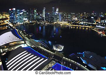 panorama, notte, singapore