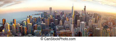 panorama, ocaso, chicago