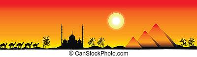 panorama, ocaso, egipto