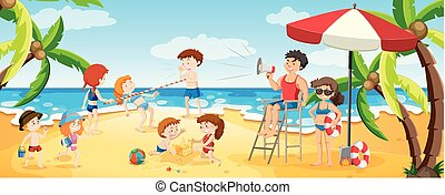 panorama, occupé, plage, vue