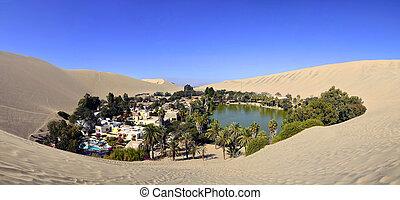 panorama, od, huacachina, oaza, blisko, ica, peru