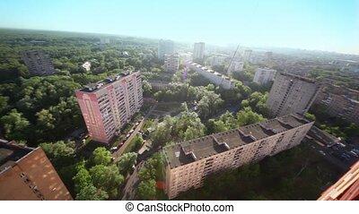 panorama, od, mieszkanie, wśród, drzewa, na, słoneczny,...