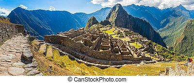 panorama, od, tajemniczy, miasto, -, machu picchu, peru,...