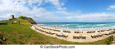 Panorama of a beach and turquoise water at the modern luxury hotel, Halkidiki, Greece