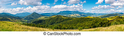 grassy meadows and forested hills in early autumn - panorama...