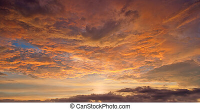 panorama of a beautiful sunset clouds