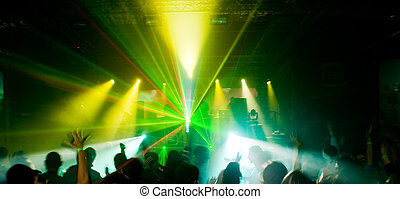 Panorama of a concert in green light - Panorama of a...