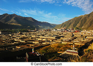 Panorama of a famous Tibetan lamasery in the morning