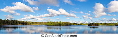 forest lake and sky with clouds