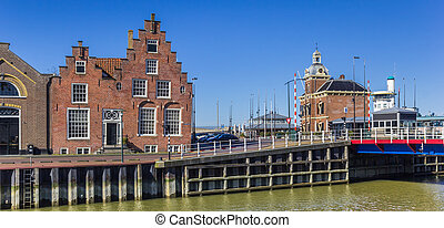 Panorama of a historic step gable house in Harlingen, Netherlands