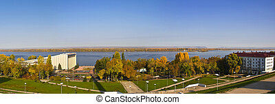Panorama of a large city on the banks of the river. Samara, Russia. Autumn Landscape.